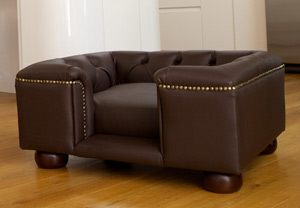 Sandringham Chestnut Brown Faux Or Real Leather Dog Bed
