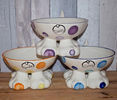 Personalised Ceramic Dog Bowl On Legs In Dotty Design
