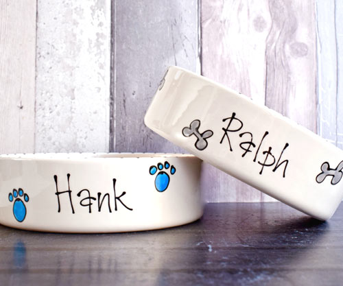 Whimsical Ceramic Dog Bowls With Dog S Name