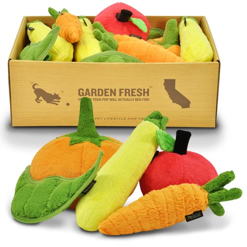 Plush Dog Toys | Peapod, Carrot, Apple, Pumpkin, Zucchini